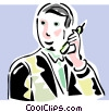 Vector Clip Art graphic  of a businessman talking on a