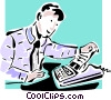 Vector Clip Art image  of a businessman looking at a fax