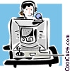 Vector Clipart illustration  of a woman with a headset