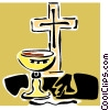 Vector Clip Art image  of a The Cross and communion
