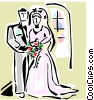 Vector Clipart picture  of a Wedding bride and groom