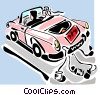just married automobile Vector Clip Art graphic