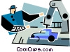 Vector Clip Art image  of an automotive assembly line