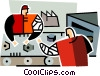 two men working on an a assembly line Vector Clipart picture