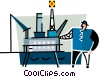 Vector Clip Art picture  of a man at a offshore oil rig