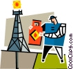 Vector Clipart picture  of a man with a gas can by a oil