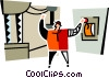 man throwing the switch at the power plant Vector Clipart graphic