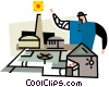 Vector Clipart illustration  of a man with a model factory