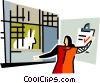 Vector Clipart graphic  of a veterinarian looking after a