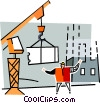 Vector Clipart picture  of a foremen directing a shipping