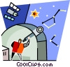 man looking through a telescope Vector Clipart picture