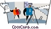 men using surveying equipment Vector Clip Art graphic