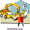 Vector Clipart graphic  of a construction worker loading a