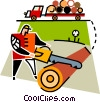 forestry worker cutting a log Vector Clipart illustration