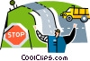 Vector Clipart graphic  of a construction worker directing