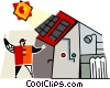 Vector Clipart image  of a house with solar panels