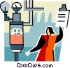 Vector Clipart picture  of a woman with clipboard