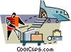 Vector Clipart graphic  of a baggage handler at the airport