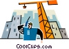 construction foreman on a walkie talkie Vector Clipart graphic