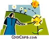 Vector Clip Art image  of a gardener tending to the