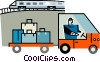 Vector Clipart illustration  of a baggage handler at the train