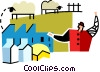 farmer with sheep Vector Clip Art image