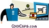 Vector Clipart graphic  of a man making an on-line purchase