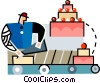baker decorating a cake Vector Clip Art picture