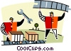 Vector Clip Art graphic  of a two men working on the