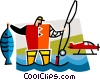 Vector Clip Art graphic  of a fisherman