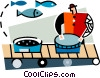 Man working at a commercial fishery Vector Clipart illustration