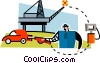 petroleum from oil rig to gas pump to car Vector Clipart image