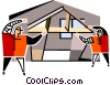 two construction workers framing a house Vector Clip Art image