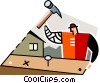 carpenter hammering nails Vector Clipart picture