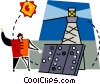 person using solar energy to operate a lighthouse Vector Clipart picture