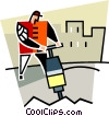 construction worker using a jackhammer Vector Clipart picture