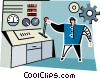 man standing at a work station Vector Clipart graphic