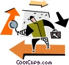 Vector Clipart graphic  of a man with magnifying glass