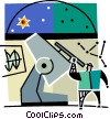 man at an observatory looking through a telescope Vector Clipart illustration