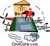 wind energy creating power Vector Clipart illustration