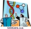 Vector Clipart graphic  of a scientists looking at a DNA