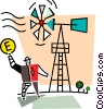 Man with a windmill Vector Clip Art graphic