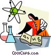 Scientist doing research Vector Clipart illustration
