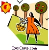 woman with a basket and apple trees Vector Clipart illustration