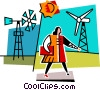 Vector Clip Art graphic  of a woman walking past windmills