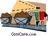 Vector Clipart graphic  of a miner with coal cars