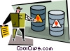 Vector Clipart graphic  of a flammable barrels