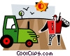 Vector Clip Art image  of a Tractor and a farmer in a