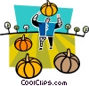 Vector Clipart graphic  of a farmer with pumpkins