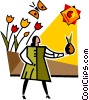 Vector Clip Art graphic  of a woman standing with flowers